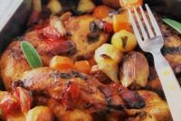 Pollo rustico con verduras